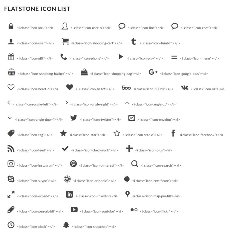 flatsome icon list
